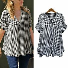 Deep V Plaid&Checks Cotton Casual Short Sleeve Shirt Women Shirt Tops Blouse