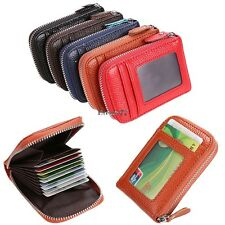 Holder PU Leather Mens Wallet ID Credit Card Purse Womens Fashion Zip Case 5EA77