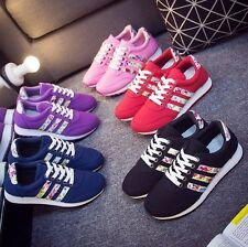 Fashion Korean Womens Lace Up Floral Flats Casual Sport Sneakers Shoes