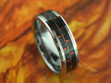 6MM Tungsten Ring With Carbon Fiber Inlay Black/Red- Wedding RingEngagement RING