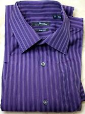 Marc Anthony Purple Striped Slim Fit Long Sleeve LS Dress Shirt 14 1/2 32/33