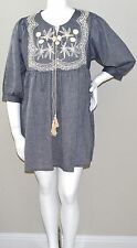 Velzera Boho Embroidered Chambray Empire Waist Tunic Dress Plus 1XL 2XL 3XL New!