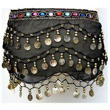 Hand made Belly Dance Hip Scarf 3 Rows Coin Belt Skirt Gold/Silver Coins COLORS