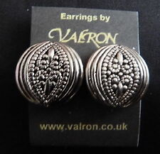 ROUND SILVER TONE EARRINGS WITH OVAL PATTERN - STUD, CLIP ON OR MAGNETIC