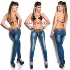 Womens New  Ripped Skinny Jeans Blue Sexy Low Rise FREE Belt Hipster Sz 8 10