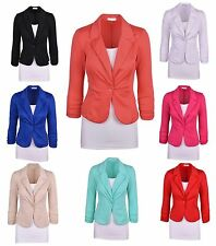 Womens 2016 Blazer Jacket Suit Work Casual Basic Long Sleeve Candy Button New