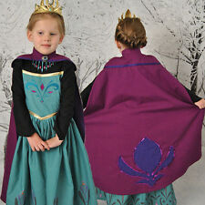 Frozen Princess Cape Dress Anna Elsa Queen Girls Cosplay Costume Party Dress-01