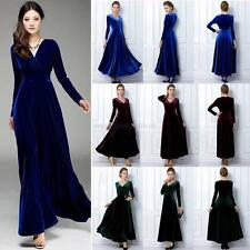 Fashion Women's V Neck Long Sleeve Maxi Dress Sexy Clubwear Evening Party Dress