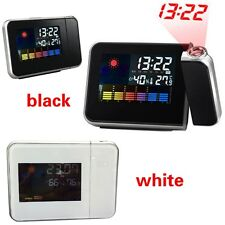 Cool LCD Digital LED Weather Projector Alarm Clock Temperature Calender Snooze