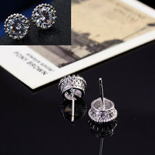 New18K White Gold Chic Crown Crystal Princes Plated Ear Stud Earring Jewelry