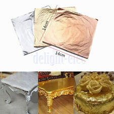 100PCS 14x14cm Gold/Silver/Copper Leaf Sheets Leaves Sheets Gilding Art Craft DE