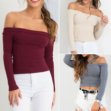 Sexy Womens Off Shoulder Knit Sweater T-Shirt Fashion Loose Tops Casual Blouse
