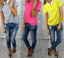 Doll Collar Chiffon Korean Women Tops New Slim Shirt Short Sleeve Pure Color