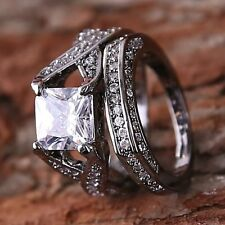 2PCS Men Woman Wedding Band Ring 2-in-1 White Sapphire Fashion Jewelry Gift