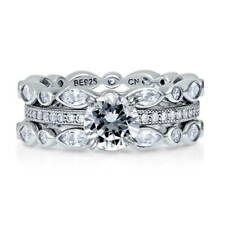 BERRICLE Sterling Silver Round CZ Solitaire Engagement Ring Set 2.95 Carat