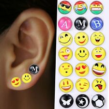 Lots Of 12pairs Cute Emoji Lovely Face Ear Studs Earrings Women Party Jewelry