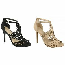 Anne Michelle Womens/Ladies High Heel Cut Out Shoes With Buckle Ankle Strap