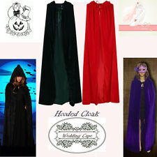UK Halloween Hooded Cape Christmas MEDIEVAL Wedding Velvet Cloak Coat Shawl S-XL