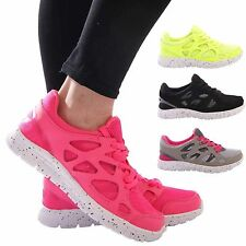 LADIES WOMENS FITNESS TRAINERS CASUAL COMFORT SPORT DAILY PUMPS LACE UP SHOES