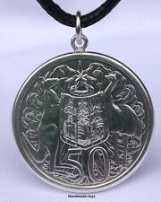Australian 1966 Fifty Cent 80% Silver Coin Pendant - Sterling Silver Bezel