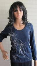 Simply Be Ladies Jersey Top Casual Design Cotton Blouse Size 12 UK Navy New