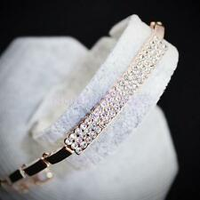 Fashion Crystal Diamante Cube Bracelet Cuff Bangle Jewelry-Rose Gold/Silver