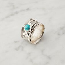 925 Sterling Silver Natural Turquoise Gemstone Spinning Worry Ring