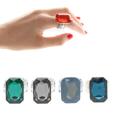 Fashion Huge Faceted Cuboid Diamond Emerald Sapphire Ring Jewelry 5 Colors