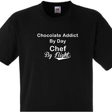 CHOCOLATE ADDICT BY DAY CHEF BY NIGHT T SHIRT PERSONALISED COOKS TEE