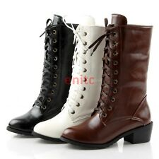 Fashion Mid Cuban Heel Lace Up Motorcycle Punk Womens Mid-calf Boots Shoes En25