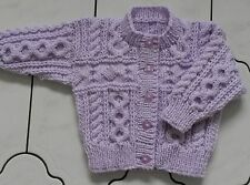 MAKE TO ORDER 0-3 3-6 6-12 Months, 1-2 Years/Yrs Hand Knitted Baby Aran Cardigan
