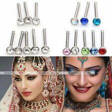 24x Set 20G Crystal Stainless Steel Stud Nostril Nose Ring Barbell Body Piercing