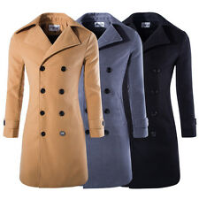 New Men's Overcoat Jacket Wool Outerwear Double Breasted Trench Long Coat K1