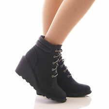 LADIES WOMENS BLACK ANKLE BOOTS LOW WEDGE FUR WINTER LACE UP SHOES SIZE