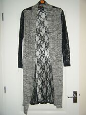 *SOPHIA* GORGEOUS GREY BLACK LACE STYLE SHEER BACK LONG CARDIGAN TOP HOLIDAYS