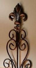 Fleur-de-lis Metal Hanging Wall Sconces with Amber Globe Candle Holder 2-pc set