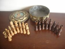 Vintage Coronation Tin Containing Wooden Chess Set