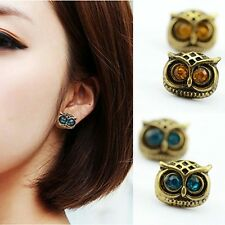 2016 New Plated Gold Big Eye Owl Stud Earrings Fashion Jewelry Brincos Crystal