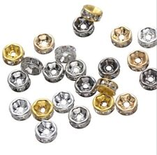 varitions rhinestone silver gold plated rondelle spacer loose beads USA BY EUB