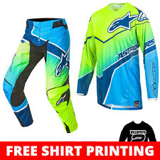 2017 Alpinestars Techstar Venom MX Motocross Kit Combo - Flou Yellow Cyan blue