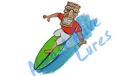 Tiki Surfer Sticker Decal Home Office Dorm Wall Exclusive Art Tablet Cell CPU HD