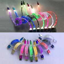 1M Retractable Luminous Micro USB Fast Data Sync Charger Charging Cable Cord Lot