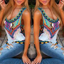 Sexy Women Sleeveless T-Shirt Floral Print Vest Blouse Tank Top Plus Size Cool