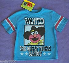 """Elmo - Sesame St Street - """"Wanted  Great Tickle Bandit"""" Boys -Top Tshirt- Size 1"""