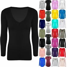 Womens Ladies Long Sleeves V Neck Jersey Casual Top Basic Stretchy Tunic T Shirt