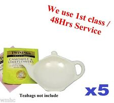 5x Tea Bag Tidy Rest Spoon Holder White Vinci Porcelain Kitchen Home Tea coffee