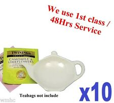 10x Tea Bag Tidy Rest Spoon Holder White Vinci Porcelain Kitchen Home Tea coffee