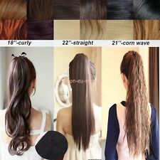 "18""-27""Clip In Ponytail Pony Tail Hair Extensions Tie Wrap Around Straight Curly"