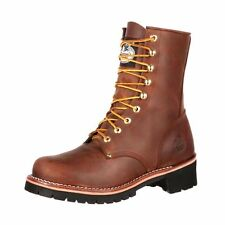 """Georgia Work Boots Mens 8"""" Logger Leather Steel Shank Brown GB00048"""