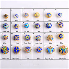 Cloisonne Enamel filigree silver gold plated copper spacer loose beads USA EUB